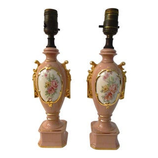 1940s Pink & Gold Victorian Floral Screen Lamps - a Pair For Sale