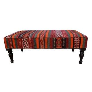 Dorotha Orange/Gray Handmade Kilim Upholstered Settee