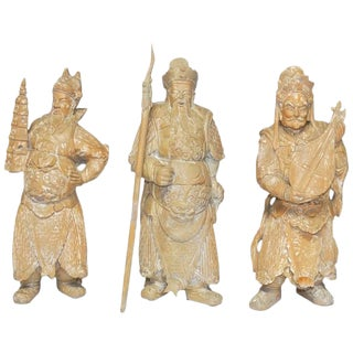 Chinese Immortals Carved Statues - Set of 3 For Sale