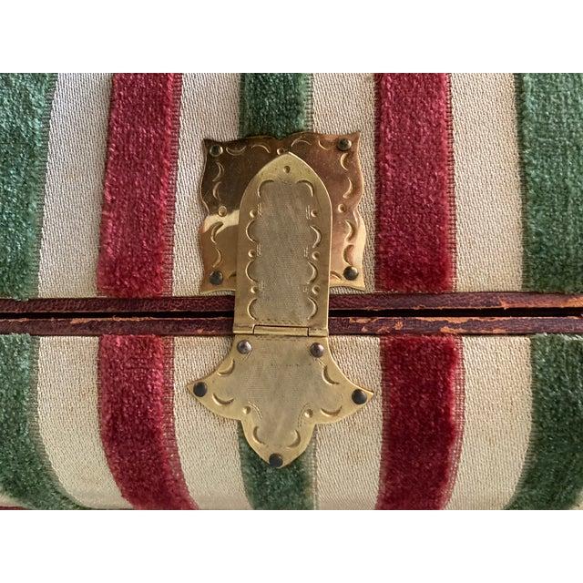 Vintage Striped Fomerz Italy Leather, Satin, Velvet, Felt Domed Box For Sale - Image 11 of 12