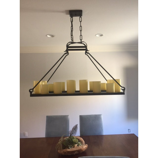 Mallorca Rectangular Hollowed Candle Electrified Chandelier by Laura Lee Designs - Image 3 of 4
