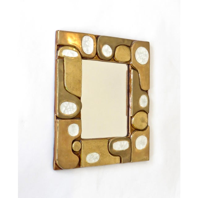 Mid-Century Modern French Ceramic Gold Crackle Glazed and Crystalline Mirror by Francois Lembo For Sale - Image 3 of 10