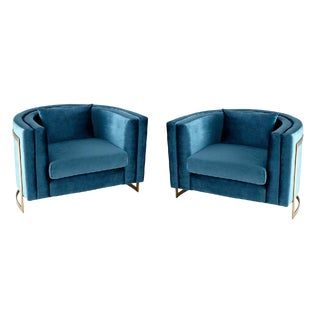 Cyan Co. Blue Velvet Donatello Chairs - a Pair