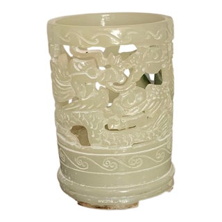 Vintage Faux Jade Chinoiserie Cutout Resin Candleholder With Dragon Design For Sale