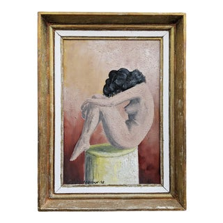 """Mid 20th Century """"Sorrow"""" Figurative Female Nude Oil Painting, Framed For Sale"""