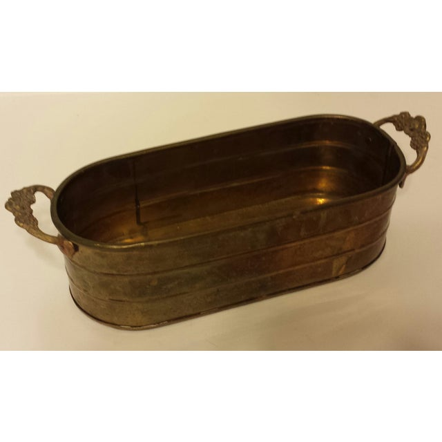Oblong Solid Brass Planter With Flower Handles - Image 4 of 9