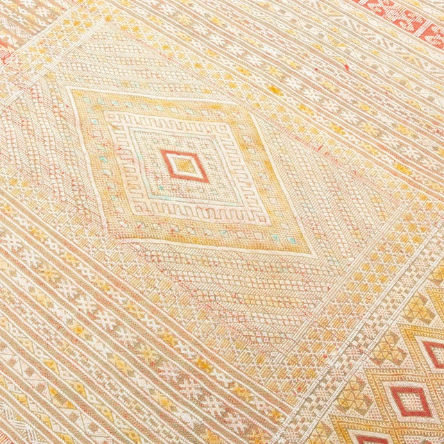 Intricate Soumak Area Rug in Soft Neutral Tones; Beige, Green and Red For Sale - Image 4 of 9