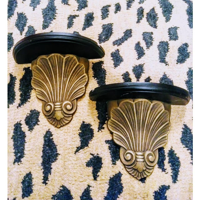 Grosfeld House A Pair Brass and Black Sea Shell Grosfeld House Style Hollywood Regency Wall Sconce Shelves For Sale - Image 4 of 5
