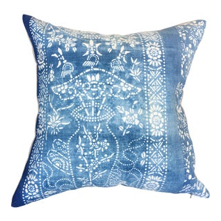 Antique Chinese Chinoiserie Batik Pillow For Sale