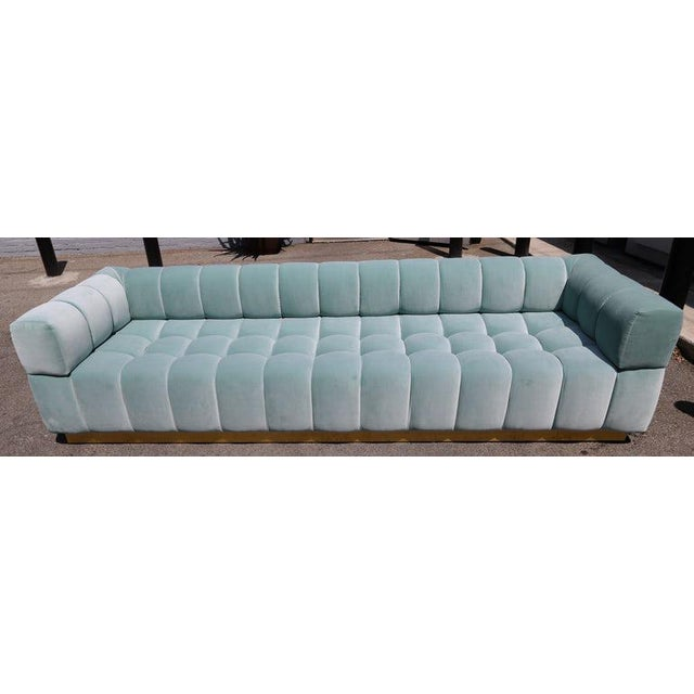 Not Yet Made - Made To Order Adesso Imports Custom Tufted Aqua Blue Velvet Sofa With Brass Base For Sale - Image 5 of 7