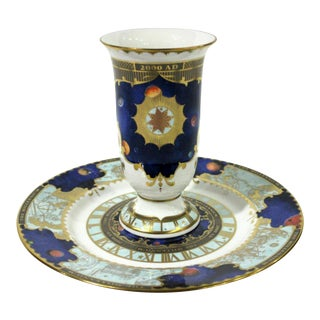 Royal Worcester Millenium Plate and Vase - 2 Pieces For Sale