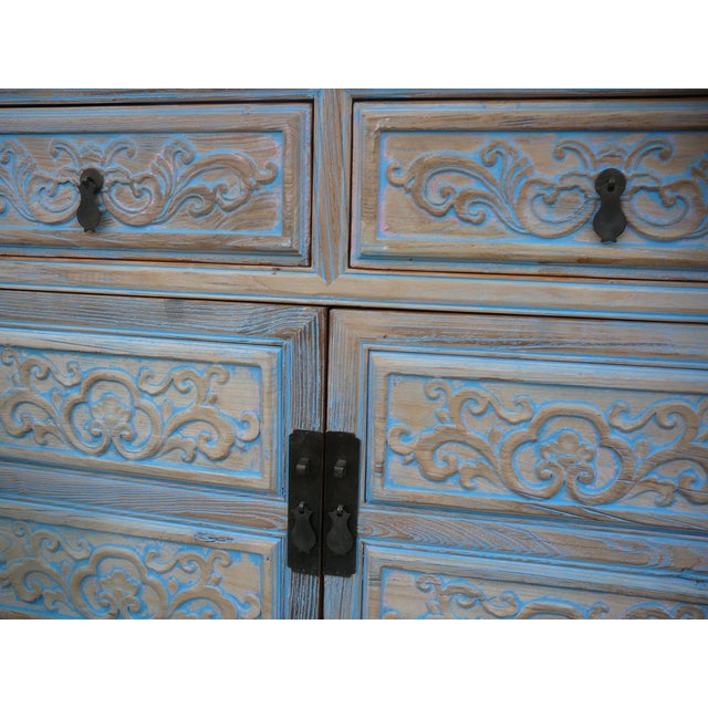 Shabby Rustic Light Blue High Credenza Cabinet For Sale - Image 4 of 7