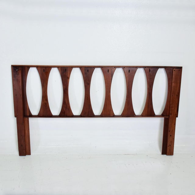 For your consideration, a Mid Century Modern Sculptural Walnut Headboard by PRELUDE. The USA circa the 1960s. Solid walnut...