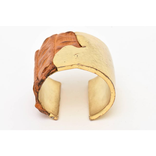 Hammered Brass and Crocodile Leather Cuff Signed Artisan Bracelet For Sale In Miami - Image 6 of 10