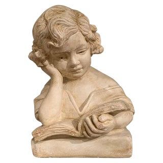 Early 20th Century French Carved Patinated Stone Bust of Young Girl Reading For Sale