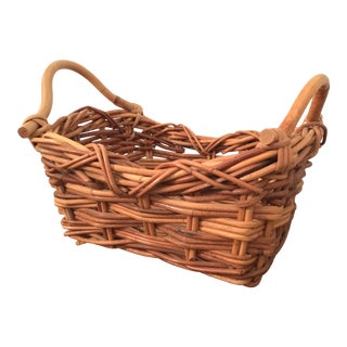 French Wicker Market Display Basket For Sale