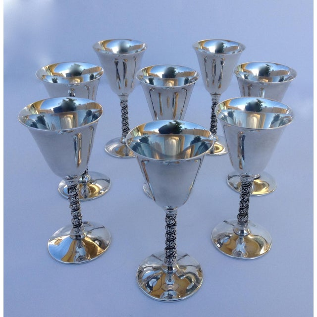 "F.B. Rogers Silver Co. Vintage Silver Plate Spanish ""Valerio"" Drinks Cordials - Set of 8 For Sale - Image 4 of 11"