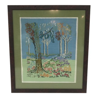 Framed Embroidered Forest Scene