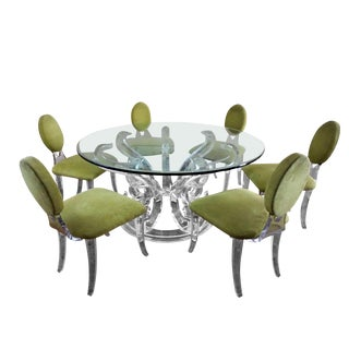 Set of 6 Sharooz Lucite Dining Chairs For Sale