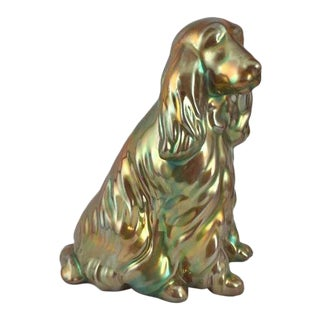 Hungarian Zsolnay Eosin Porcelain Spaniel / Setter Dog Figurine For Sale