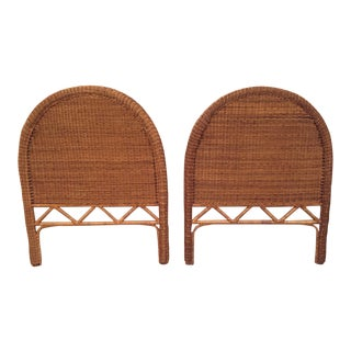 1960s Boho Chic Twin Wicker Rattan Headboards - a Pair For Sale