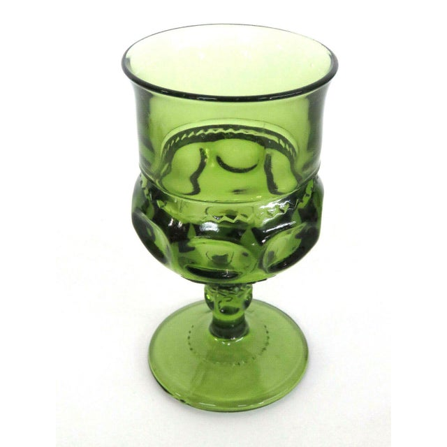 Indiana Glass Kings Crown Thumbprint Green Set of 6 Wine Cordial Goblets For Sale In Miami - Image 6 of 11