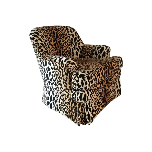 Mid Century Velvet Leopard Print Club Chair For Sale
