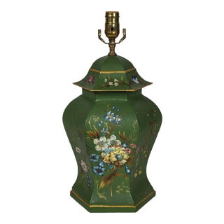 Vintage Hand-Painted Tole Temple Jar Table Lamp For Sale
