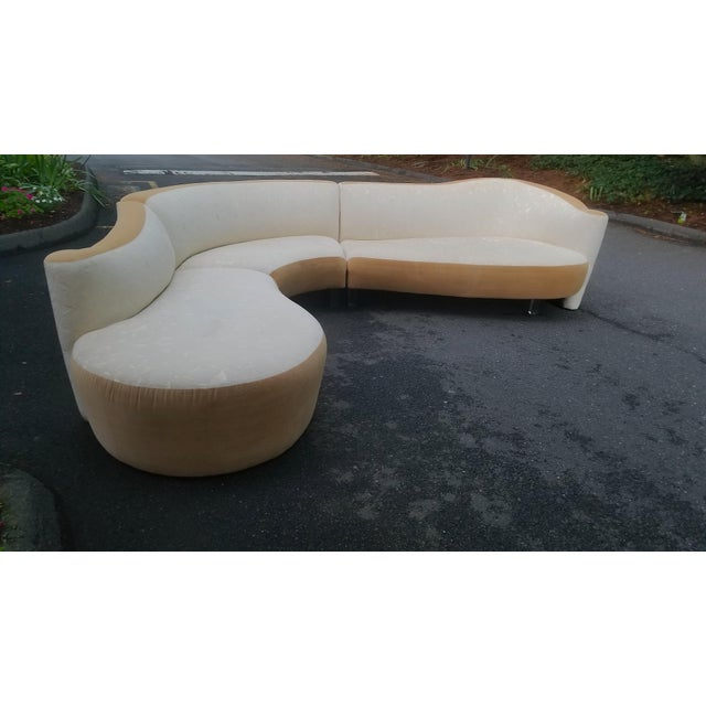 An impressive sculptural design by Vladimir Kagan and produced by Weiman Furniture in the 1980s. This sofa features 3...