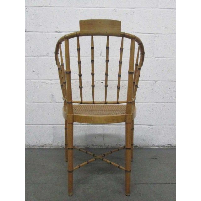 Asian Pair Faux Bamboo Chairs For Sale - Image 3 of 5