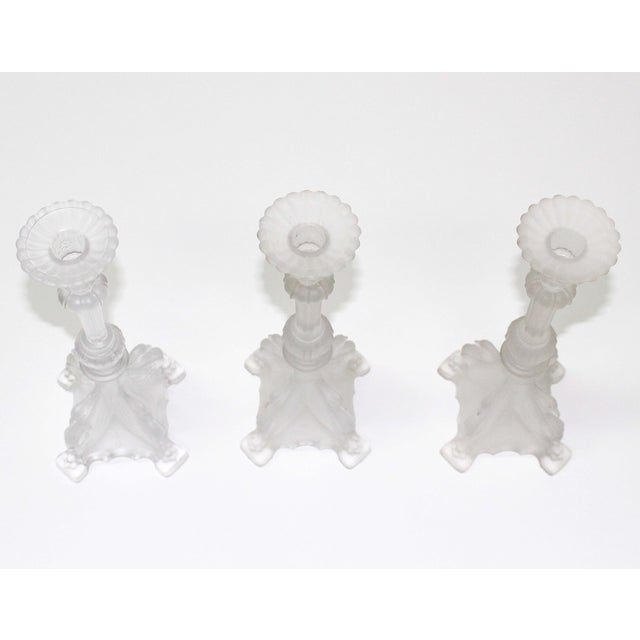 Val St. Lambert Frosted Candle Holders - Set of 3 - Image 4 of 6