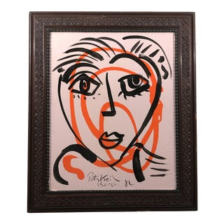 "1980's ""Graffiti Orange"" Painting For Sale"