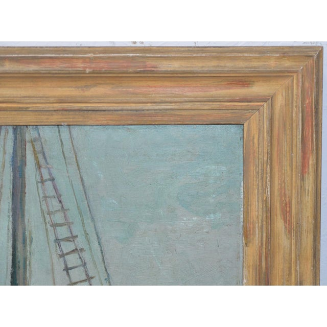 """Early 20th Century Unidentified Impressionist """"Starboard Bow at Harbor"""" Oil Painting C.1940s For Sale - Image 5 of 9"""