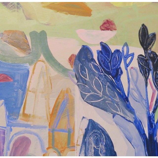 Original painting on canvas by Andrew Portwood, pale pinks, lime greens with navy & cobalt blues. Inspired by Summertime...