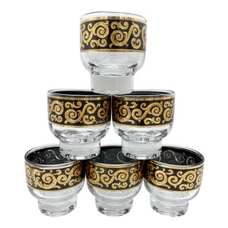 Mid Century Culver Toledo Black and 22k Gold Stemless Martini Glasses Set of 6 For Sale