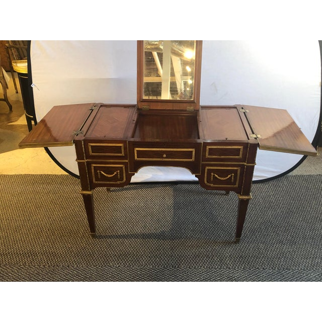 Gold Louis XVI Style Gilt Bronze Parquetry & Marquetry Dressing Table, Desk or Vanity For Sale - Image 8 of 13