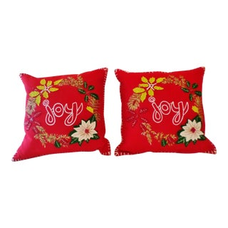 Vintage Christmas Wool and Felt Applique & Bead Pointsettia Design Pillows - a Pair For Sale