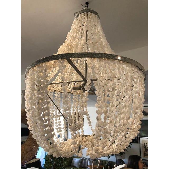 Boho Chic Made Goods Empire White Shell Chandelier For Sale - Image 3 of 6