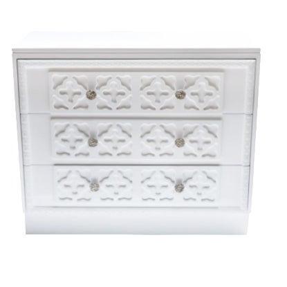 White Lacquer Trellis Dresser - Image 1 of 6