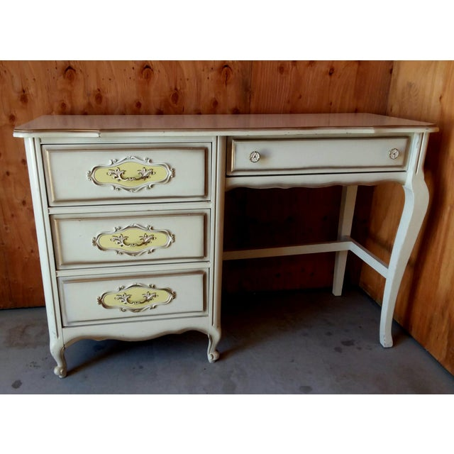 White 20th Century French Provincial Henry Link Style Writing Desk For Sale - Image 8 of 9