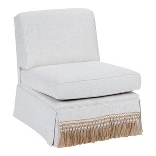 Casa Cosima Skirted Slipper Chair in Oatmeal Linen For Sale
