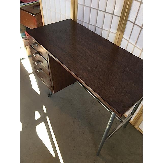 Small Mid-Century Chrome & Wood Kneehole Desk - Image 5 of 5