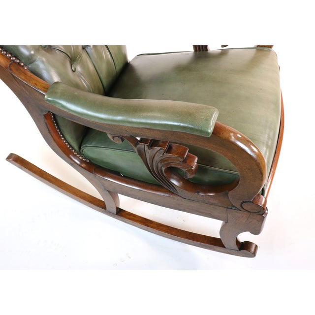 Forest Green 1830s English William IV Mahogany & Leather Rocking Chair For Sale - Image 8 of 13
