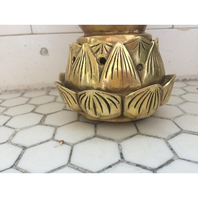 Hands on Lotus Brass Incense Burner - Image 3 of 9