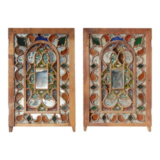 Late 19th Century Folk Art Style Stained Glass Windows - a Pair For Sale