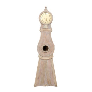 19th Century Swedish Grandfather Floor Clock With Round Finial Crest For Sale