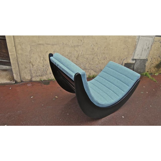 Verner Panton Rarest Pair of Black Rocking Chairs Newly Covered in Kvadrat Cloth For Sale - Image 6 of 7
