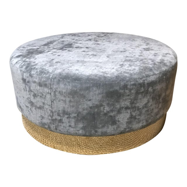Enjoyable Grey Round Ottoman With Brass Base Caraccident5 Cool Chair Designs And Ideas Caraccident5Info