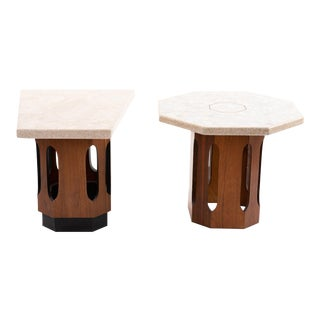 Harvey Probber Terrazzo and Walnut Side Tables - a Pair For Sale