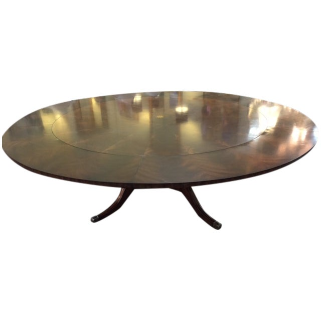 Maitland Smith Round Mahogany Table with Leaves - Image 1 of 9